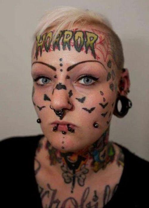 Crazy face tattoo for female design