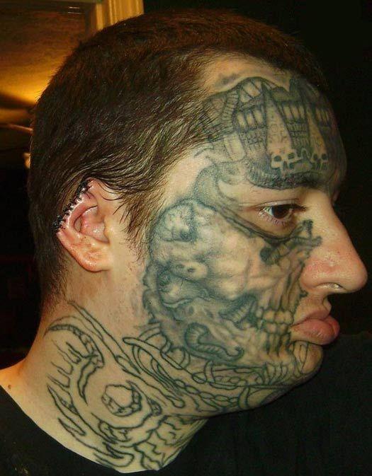 Crazy face tattoos for man