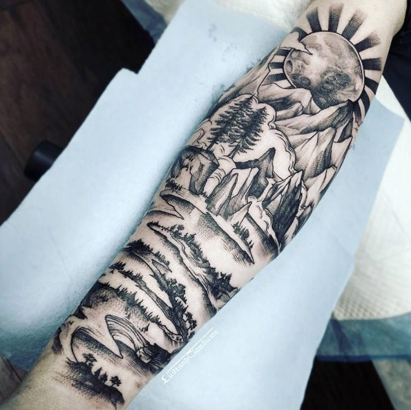 Creative black ink ar, tattoo of mountain lake with big sun