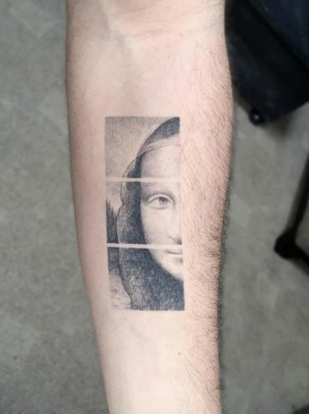 Creative black ink forearm tattoo of Mona Lisa portrait part
