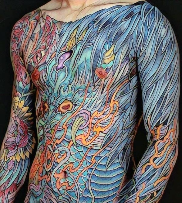 Creative colorful whole body tattoo of various leaves