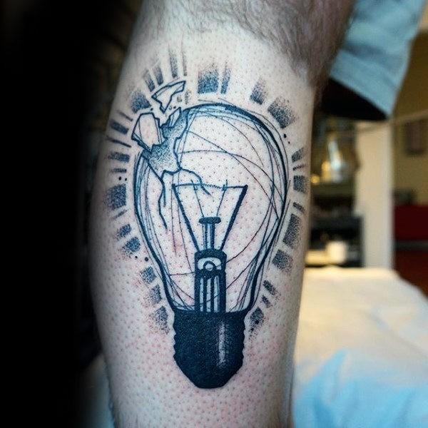 Tatuaggio di gamba in stile dotwork dal design creativo con lampadina rotta
