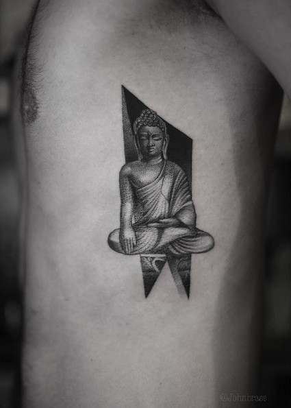 Creative dot style side tattoo of Buddha statue
