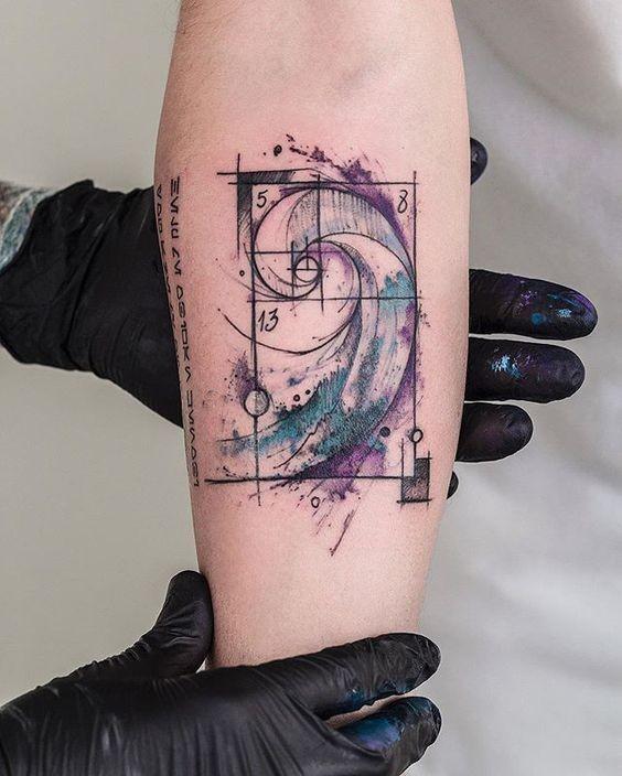 Tatouage D Avant Bras De Style Aquarelle Creatif De Vortex Avec Des