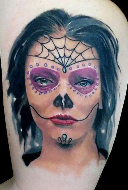 Creepy black haired santa muerte tattoo