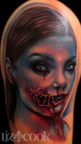 Creepy colored and detailed bloody zombie woman tattoo on shoulder