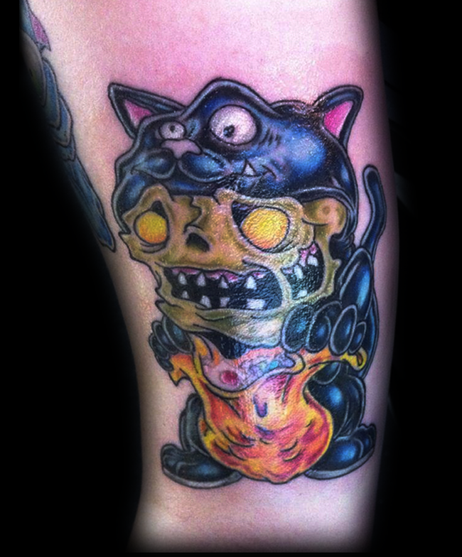 Creepy colored demonic skeleton in cat skin tattoo for Skin gallery tattoo