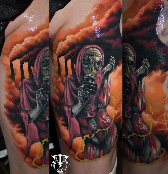 Creepy colored horror style bloody woman in gas mask tattoo