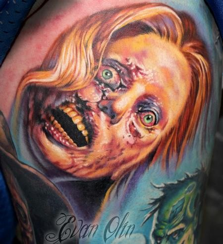 Creepy colored horror style terrifying woman monster face
