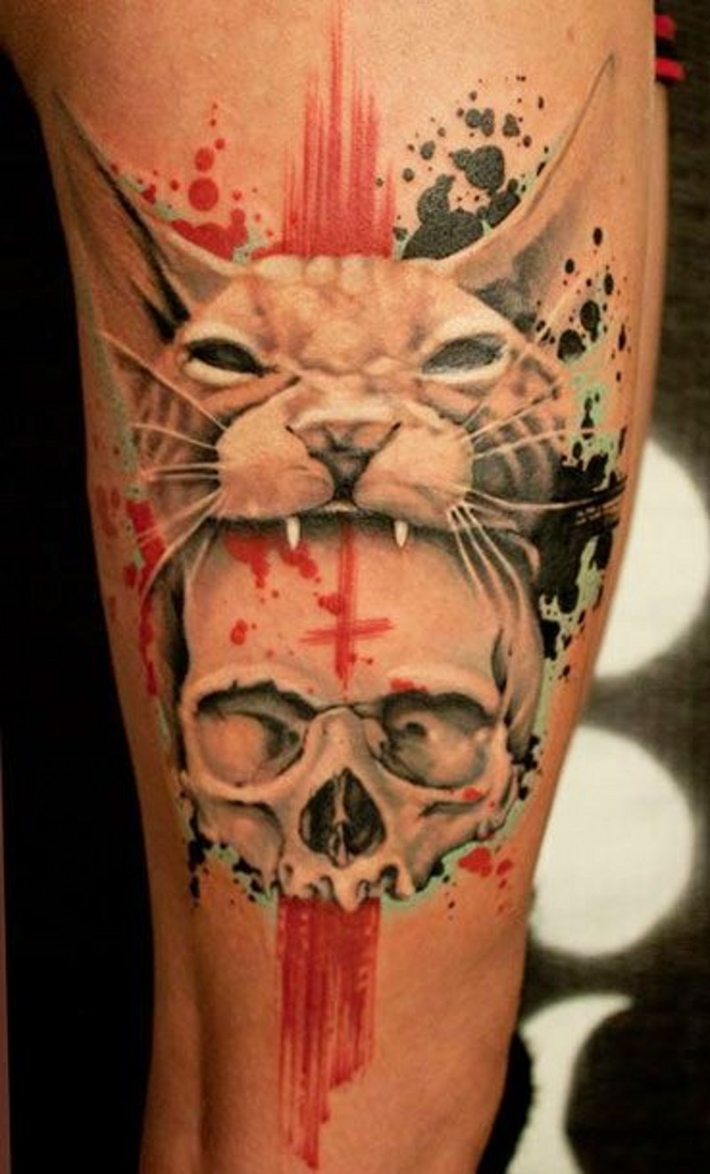 Creepy cult style bloody cat with skull tattoo on arm