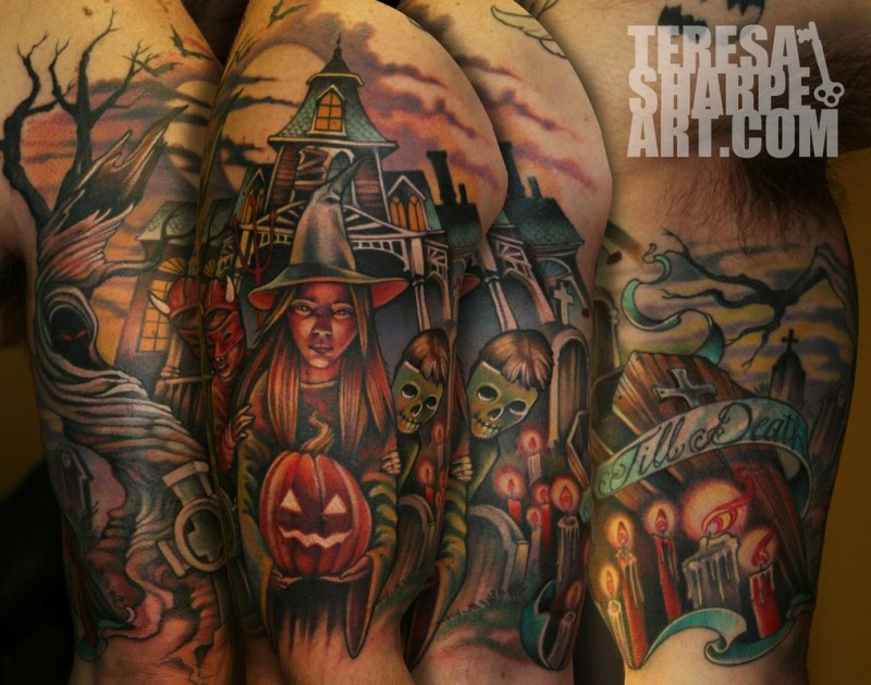 Creepy Halloween themed big shoulder tattoo with witch and old house