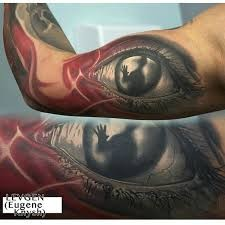 Creepy illustrative style biceps tattoo of eye with human silhouette