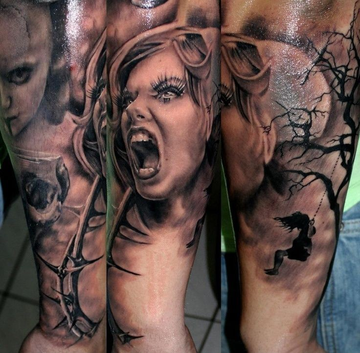 Creepy looking colored arm tattoo of screaming woman with dark tree