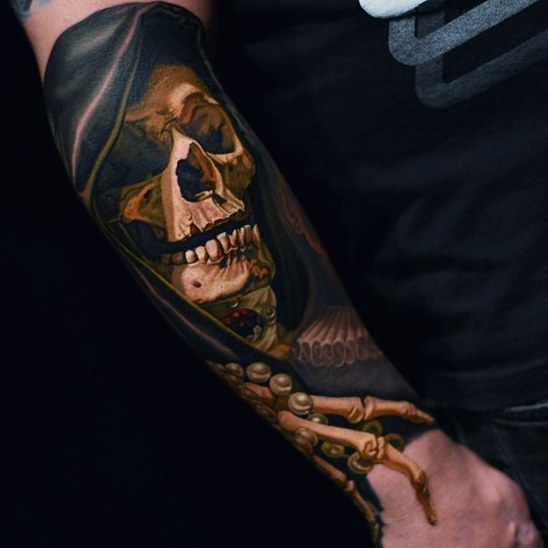 creepy looking colored arm tattoo of human skeleton with hood, Skeleton