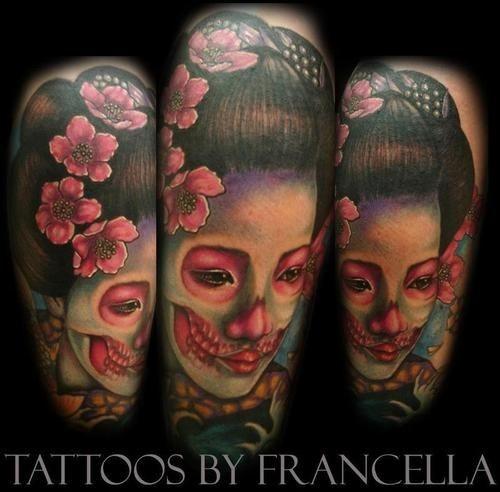 Creepy looking colored demonic geisha tattoo with flowers