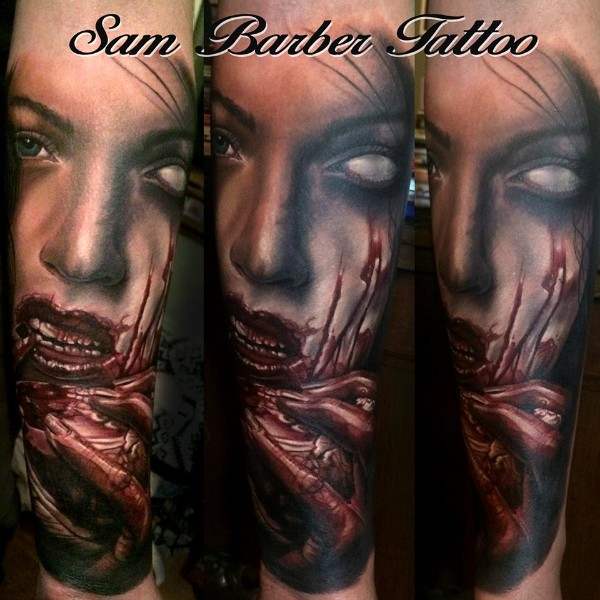 Creepy looking colored horror style demonic woman eating human heart
