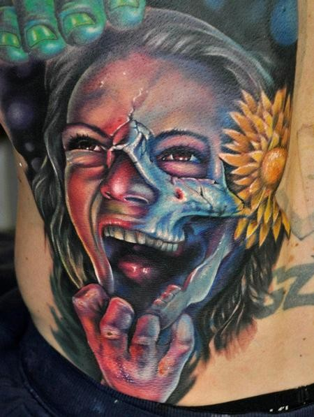 Creepy looking colored modern style horror woman portrait tattoo with yellow flower