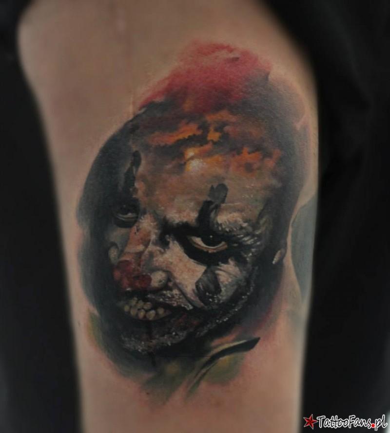 Creepy looking colored tattoo of evil Joker