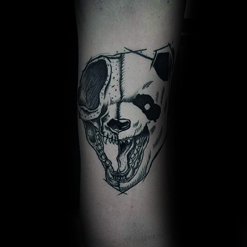Creepy looking colored tattoo of evil panda head