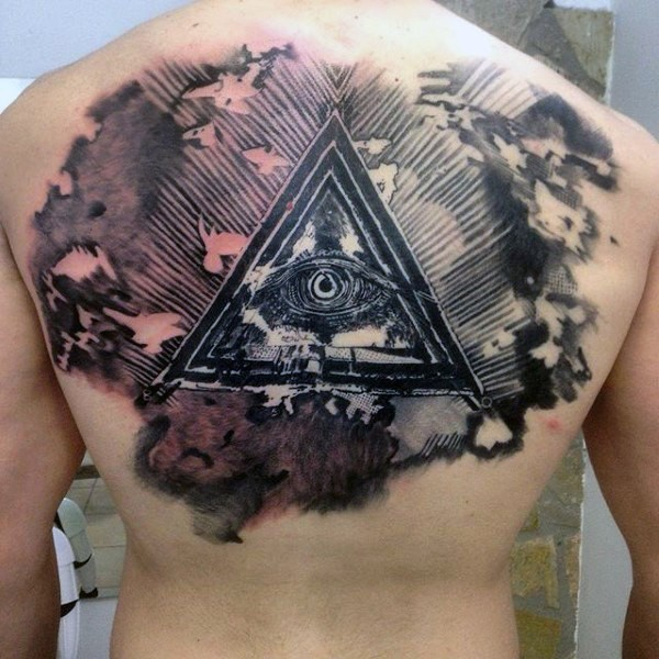 Creepy looking colored upper back tattoo of mysterious triangle with eye