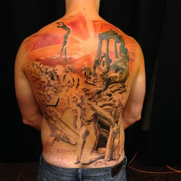 Creepy looking colored whole back tattoo of ancient people with statue