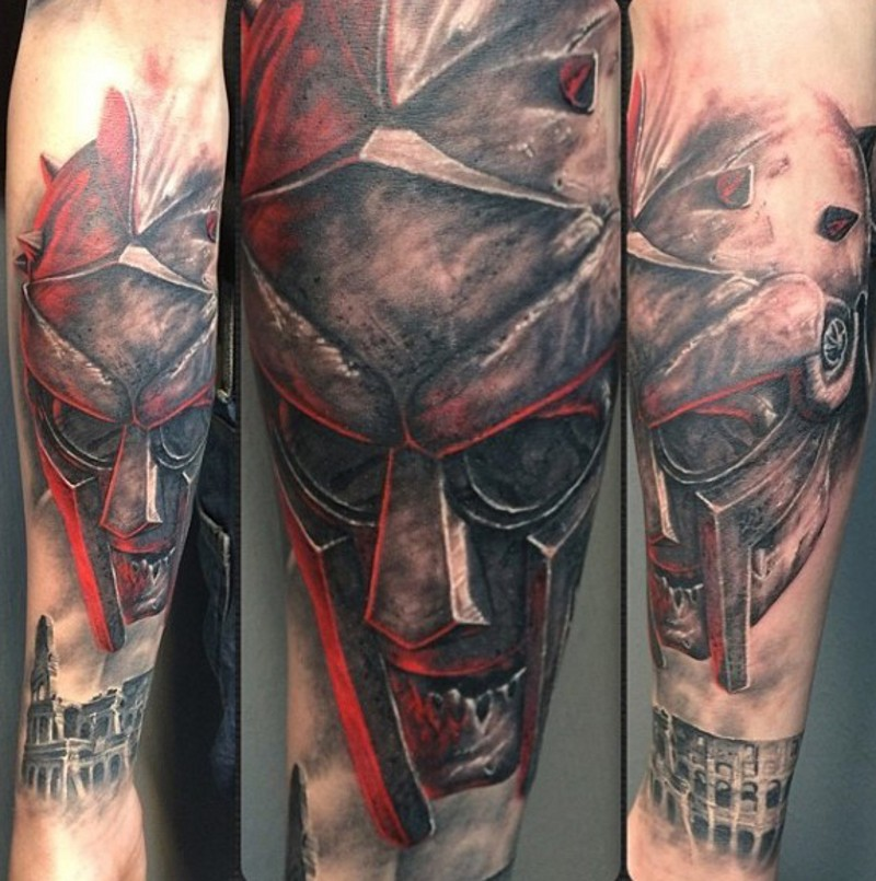 000cc3a9d Creepy looking zombie gladiator warrior tattoo on forearm with old fight  area