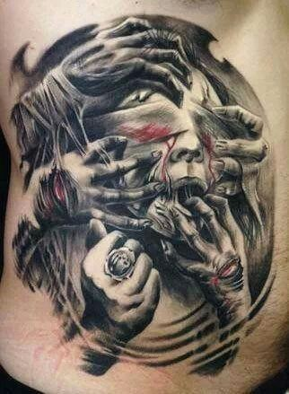 Creepy massive colored very detailed Silent Hill monsters tattoo on side