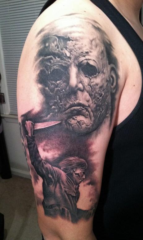 orribile Michael Myers orrore tatuaggio avambraccio
