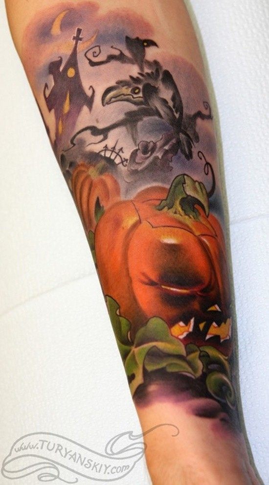 Creepy multicolored Halloween themed cartoon tattoo on sleeve