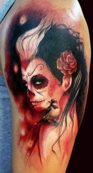 Creepy new style santa muerte tattoo