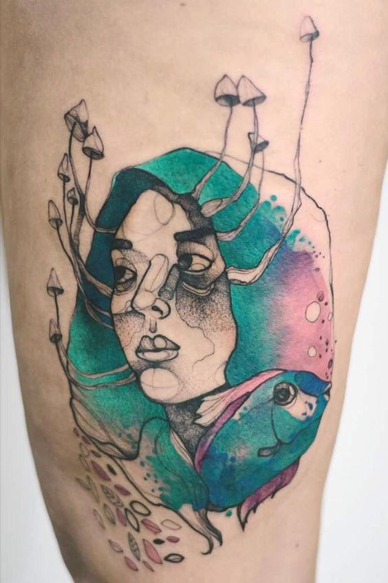 Creepy surrealism style colored tattoo of woman with fish and mushrooms by Joanna Swirska