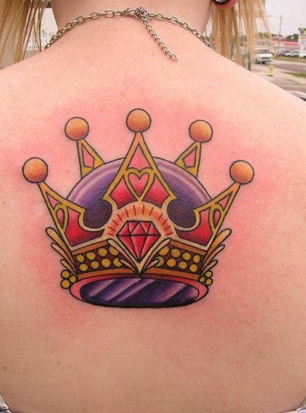 Crown tattoo on the back for women