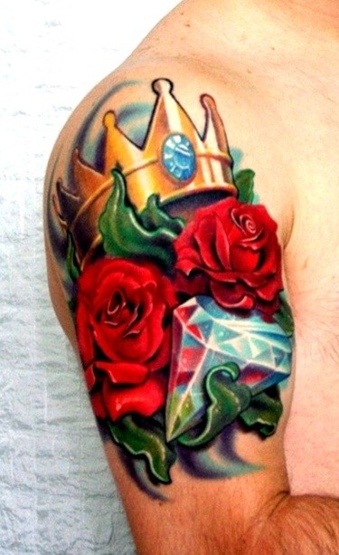 Crown tattoo with a lot of colors for men