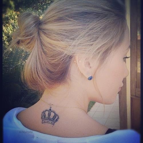 Crown tattoos for girls on upper back