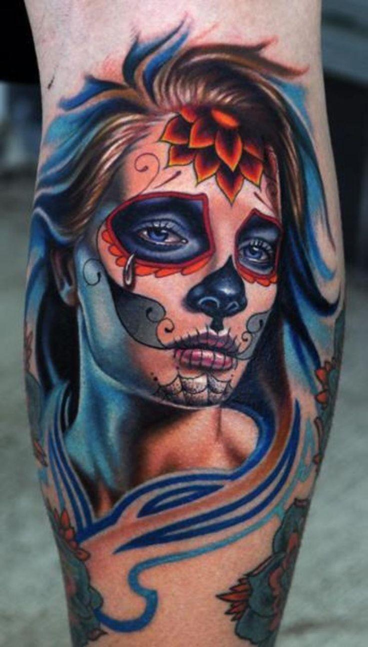 pianto santa muerte ragazza con fiori rosse su fronte  tatuaggio