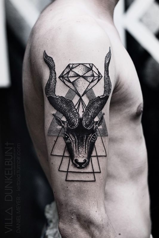 Cult style detailed black and white deer with diamond tattoo on arm