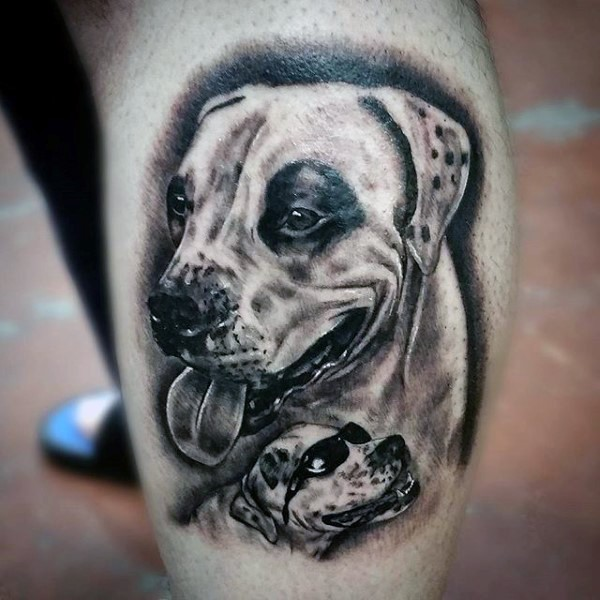 Cute 3D realistic dog with puppy in sunglasses tattoo