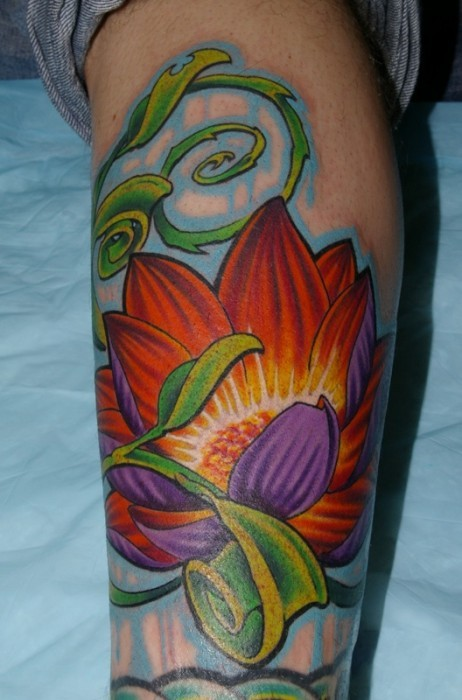 Cute 3D style painted colored lotus flower with leaves tattoo on forearm