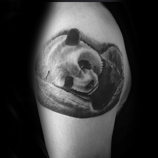 Cute and very beautiful shoulder tattoo of sleeping panda