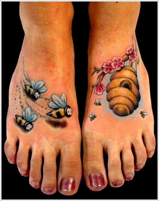 Cute bees flying in a beehive tattoo on feet