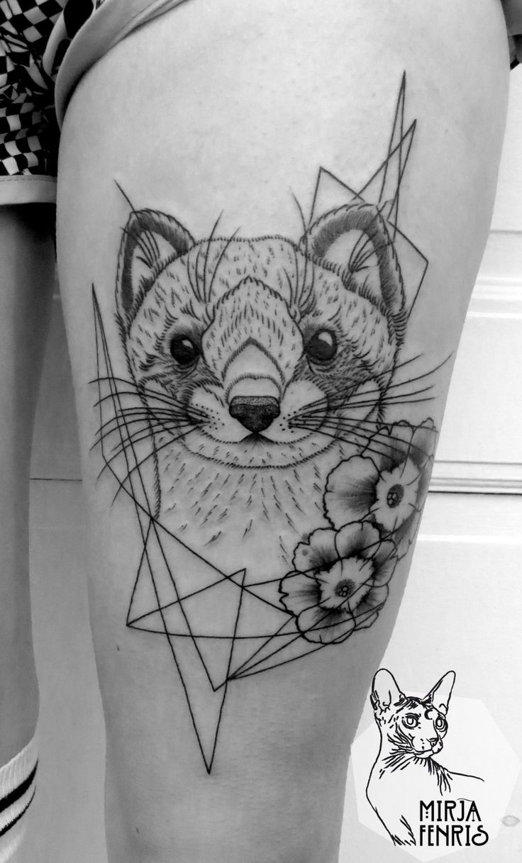 Cute black and white thigh tattoo of funny animal with flowers