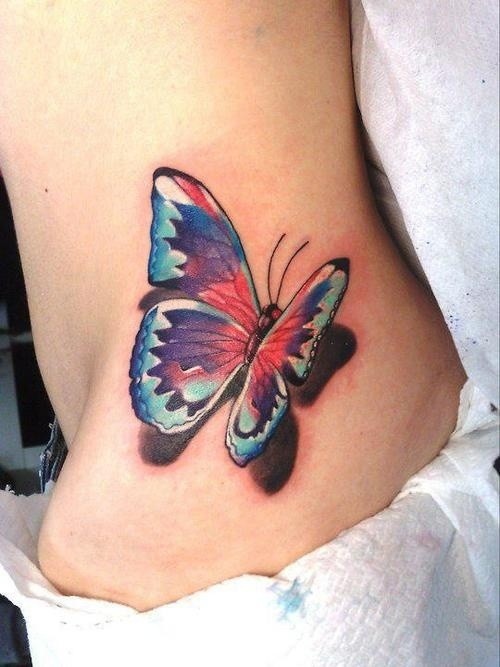 Cute butterfly tattoo with shadows on hip