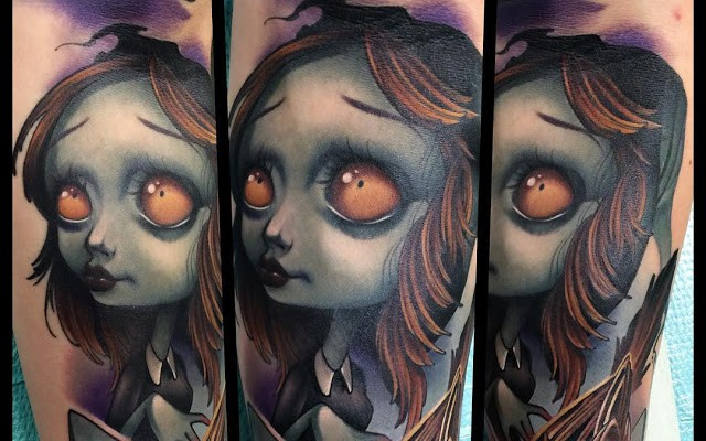 Cute cartoon like colored creepy girl tattoo