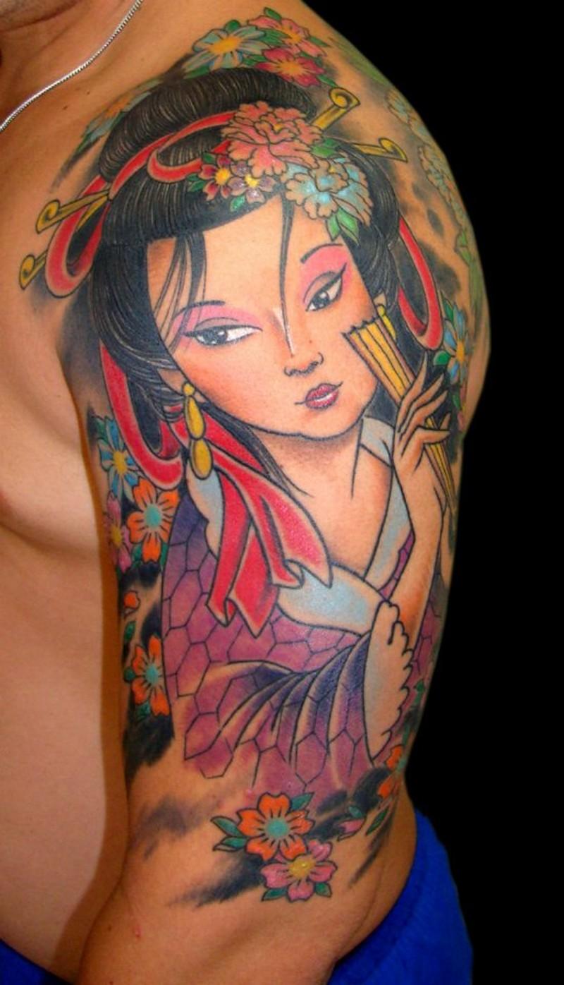 Cute cartoon like colored shoulder tattoo of Asian geisha portrait and flowers