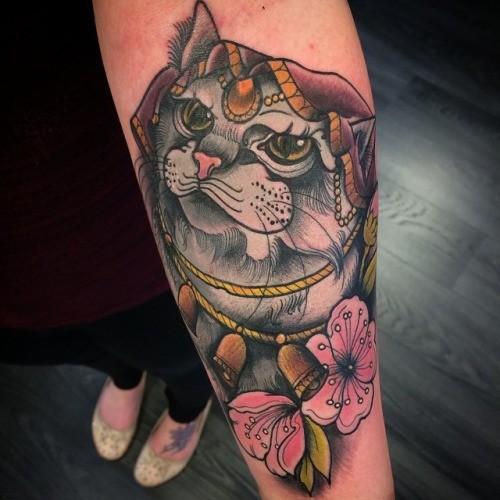 Cute cat princess tattoo on arm