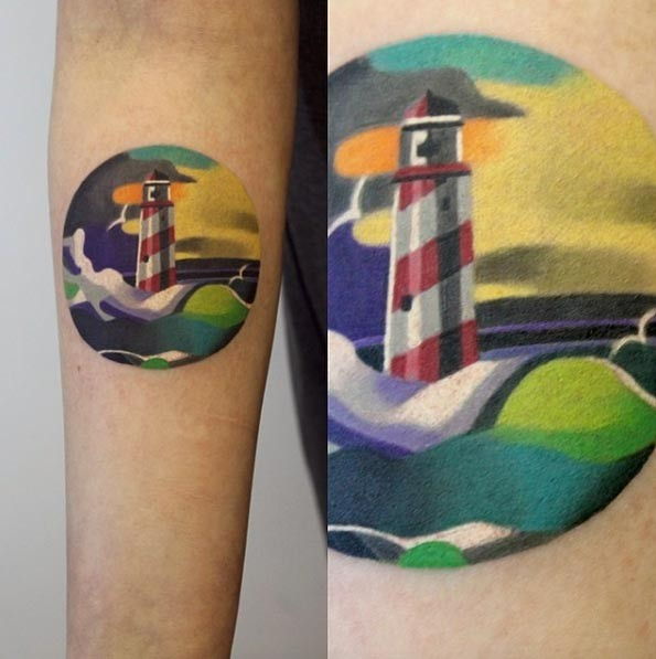 Cute circle shaped forearm tattoo stylized with lighthouse and waves