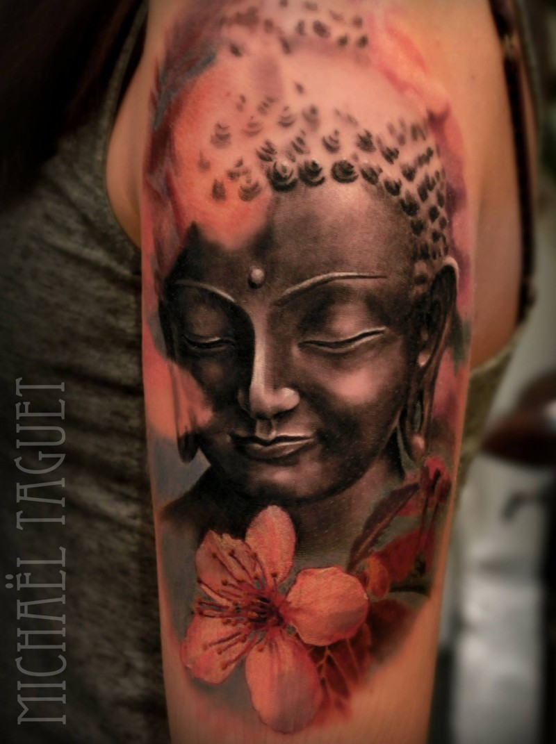 Cute colored shoulder tattoo of Buddha statue with lotus flowers