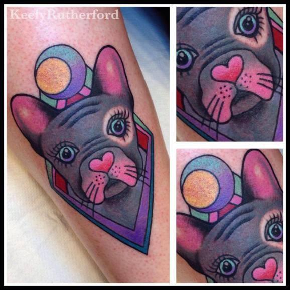 Tatuaggio incantevole il cane colorato
