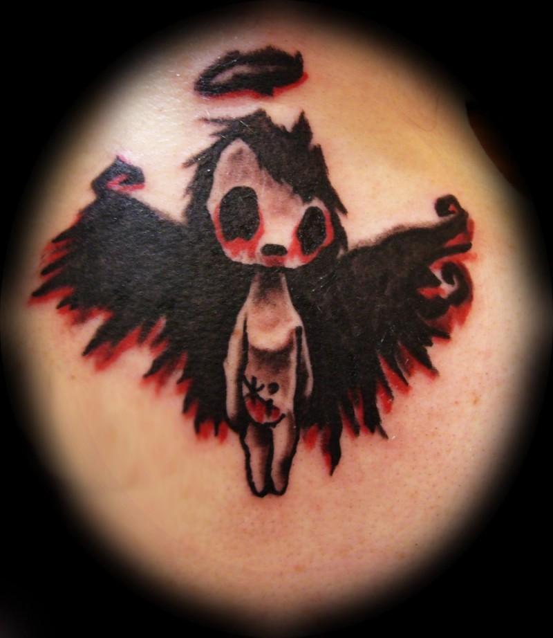 Cute dark cherub tattoo