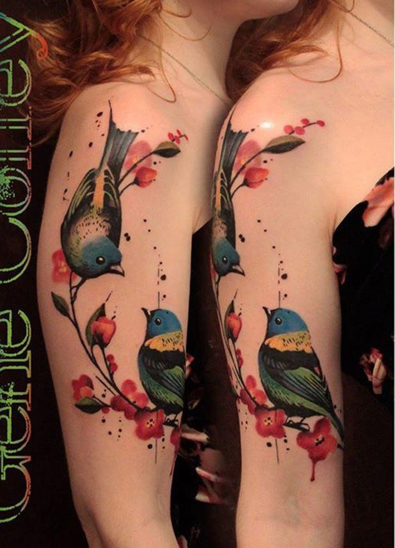 Cute designed colored shoulder tattoo of nice birds and blooming tree branch